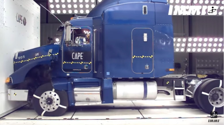 Trucks are designed to protect their occupants in a crash. Collision repair professionals need to understand the energies that travel through the cab in a collision.  - Screen shot, IMMI YouTube video