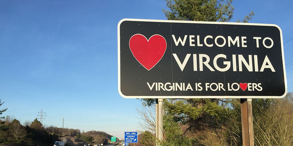 """Welcome to Virginia"" sign along northbound Interstate 81 entering Washington County, Virginia..."