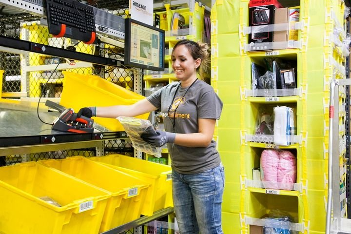 "Amazon worker ""building"" an order.