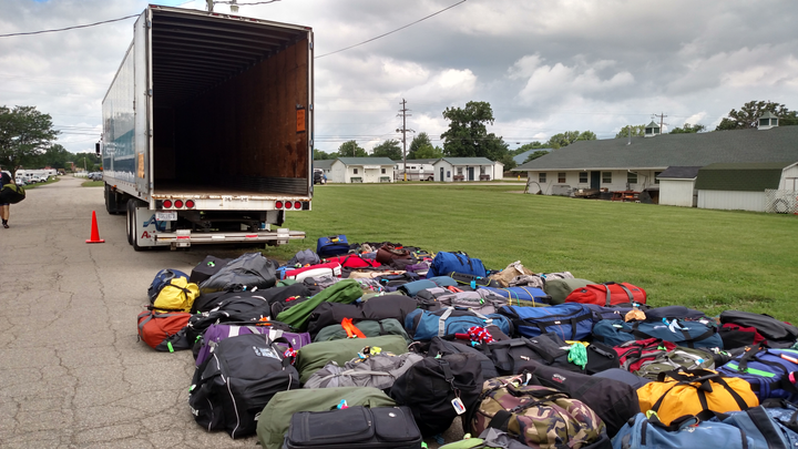 Hundreds of bags have been offloaded and await retrieval by cyclists. About 1,200 of them were on this year's Great Ohio Bicycle Adventure, June 16-23 out of Delaware, Ohio.