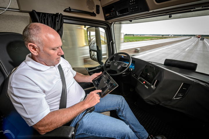 In 2014, Daimler demonstrated an autonomous concept truck where the driver was able to relax and use a tablet.  - Photo courtesy Daimler Trucks
