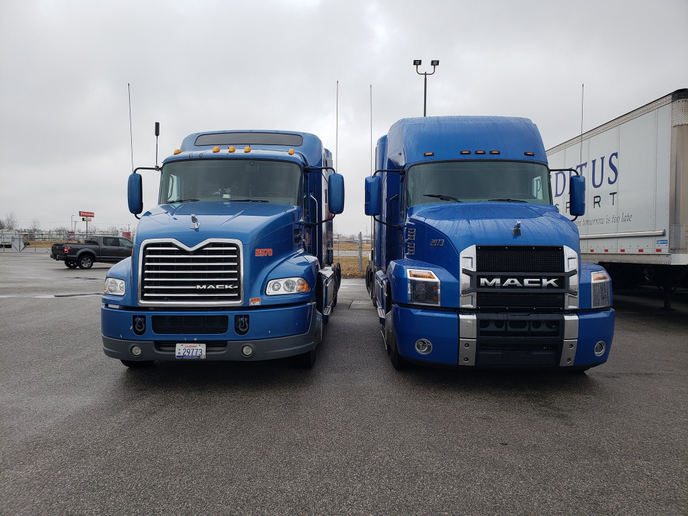 The new Anthem (right) features a bigger, brasher, bolder design that is very much in line with Mack's traditional truck designs.