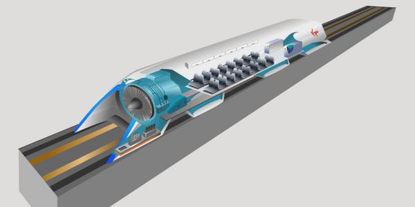 This concept drawing shows how the Hyperloop concept of pod travel to move people and freight...