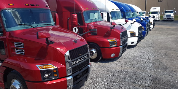 The Mack Performance Tour 2018 fleet at the end of Day 2 in Memphis.