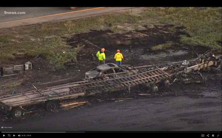 The burnt-out remains of Aguilera-Mederos' truck.
