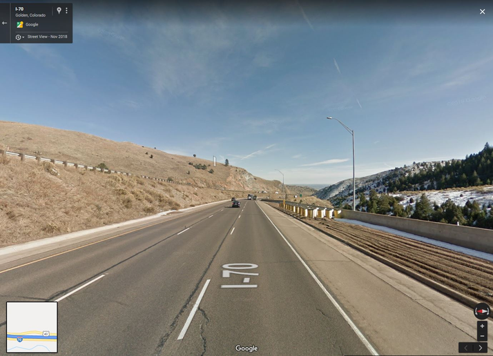 Google Earth screen grab of the far end of the 2,000-ft long arrester bed runaway truck ramp on I-70 near Lakewood, Colorado.