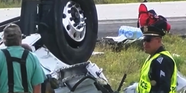Authorities suspect a steer-tire blowout was the root cause of a spectacular and deadly...
