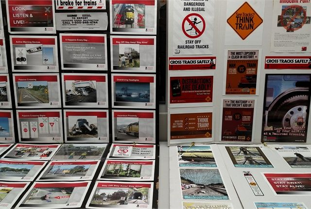Operation Lifesaver's collection of wreck photos give a viewer something to think about. This display was at the Toledo Amtrak station on May 5. Photo: Tom Berg