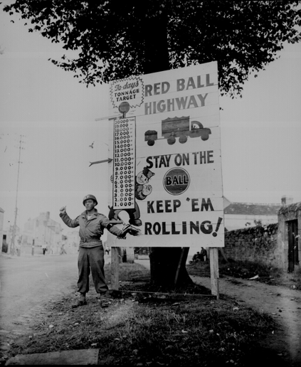 In just three months in 1944, some 6,000 Red Ball Express trucks hauled over 400,000 tons of gasoline, ammo, and other materiel needed for two American armies to rapidly advance.  - Photo: National Archives