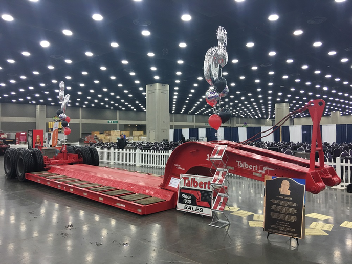 Talbert Manufacturing's first trailer was featured in the American Historical Truck Society's booth during the Mid-America Trucking Show. It was the first-ever trailer with a removable rear suspension, which significantly enhanced safety when loading and unloading heavy equipment.  - Photo courtesy Talbert Manufacturing
