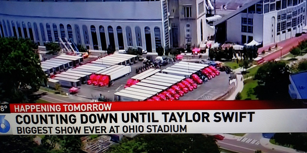 Some of the 82 tractor-trailers carrying gear for Taylor Swift's Reputation Tour are parked at...