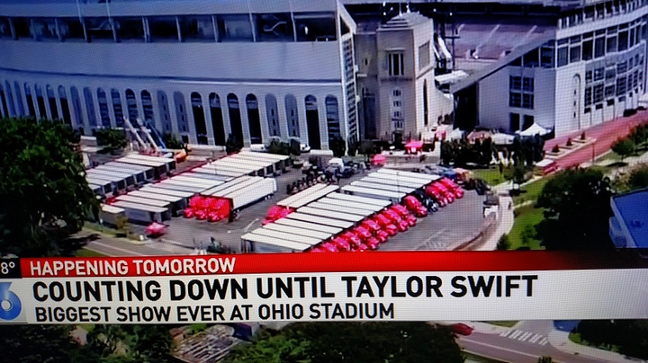 Some of the 82 tractor-trailers carrying gear for Taylor Swift's Reputation Tour are parked at Ohio Stadium in Columbus the day before her July 7 show.
