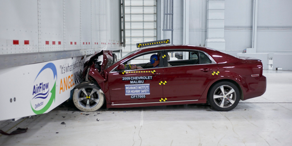In 2017, the Insurance Institute for Highway Safety tested a newly developed side underride guard.