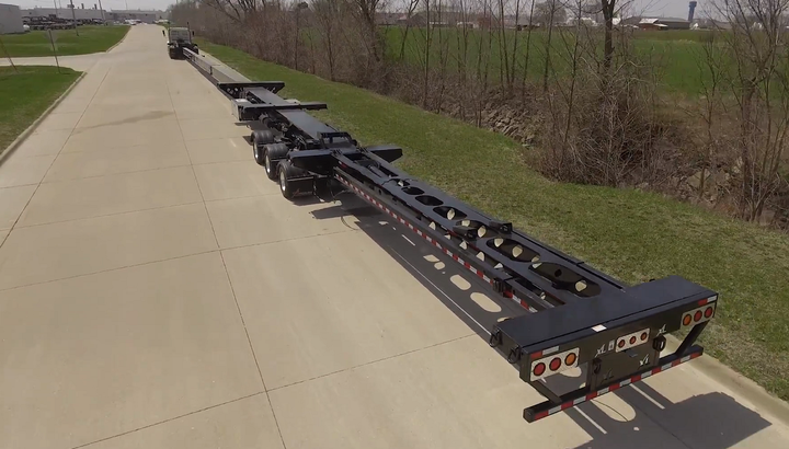 XL's Flip Extension adds 27 feet to an existing trailer to handle longer turbine blades without buying a new trailer.