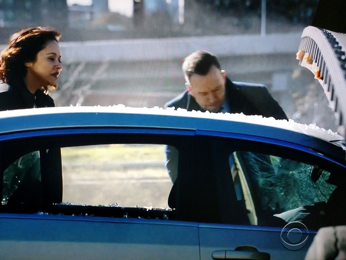 """""""Blue Bloods"""" Detectives Maria Baez (played by Marissa Ramirez) and Danny Reagan (Donny Wahlberg) check the now-dead suspect, who's slumped over the wheel. He wasn't decapitated because the car's cabin didn't underride the trailer as it probably should have. The airbag didn't deploy, either. The script needs fixing.  -"""