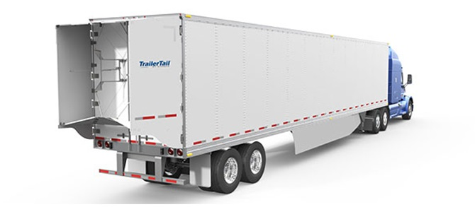 Stemco Trailer Tail AutoDeploy version automatically opens its panels when a trailer-trailer reaches 35 mph, then folds them when the rig stops or reverses.