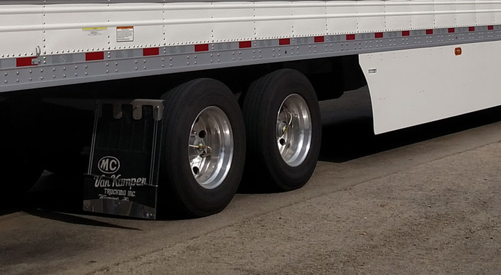 The inner dual on a trailer's rearmost axle is out of the driver's sight and farthest from him. So it tends to be lower on air than all the other tires on a tractor-trailer. Tires on this van are equipped with P.S.I. inflation systems.  - Photo by Tom Berg