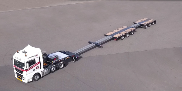 Latest Faymonville heavy-haul trailer for North America is a six-axle, triple-extendable,...