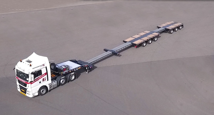 Latest Faymonville heavy-haul trailer for North America is a six-axle, triple-extendable, single-dropdeck flatbed for hauling extra-heavy and oversized cargoes.  - Photos: Faymonville Group