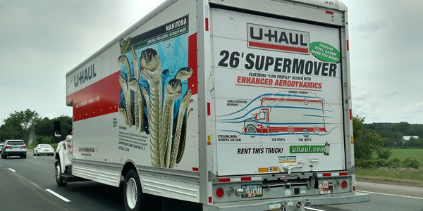 "Spotted on a highway in Ohio was this U-Haul ""Supermover"" with graphics boasting of the body's..."