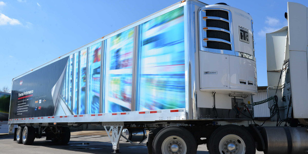 Wabash National's 100th Cold Chain refrigerated trailer made of molded structural composites,...