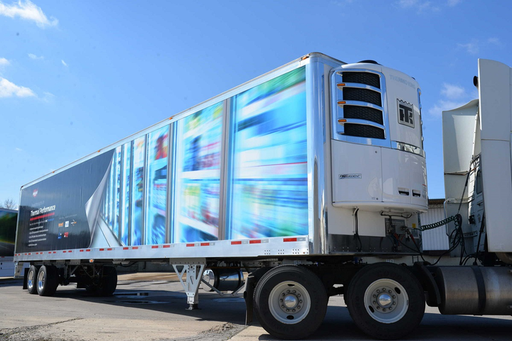 Wabash National's 100th Cold Chain refrigerated trailer made of molded structural composites, like this one, has gone to a Nebraska-based perishables carrier. MSC is a type of plastic that's all but impervious to corrosion, is relatively light weight, and better protects foam insulation to preserve interior temperatures.