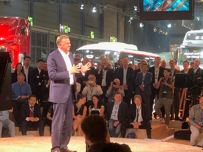 Traton CEO Andreas Renschler discusses the company's long-term plans at the IAA Commercial Vehicles Show in Germany last year.  - Photo: Jack Roberts