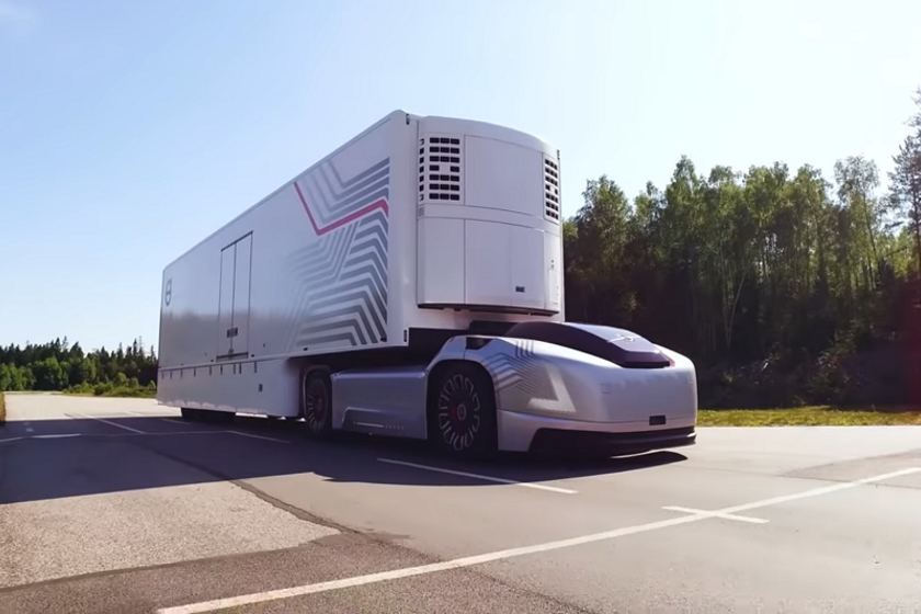 This futuristic, electric, automatic truck is how Volvo envisions portage and other drayage...