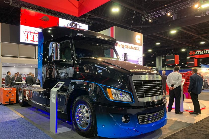 Cummins showed a concept Class 8 day cab at the North American Commercial Vehicle Show featuring...