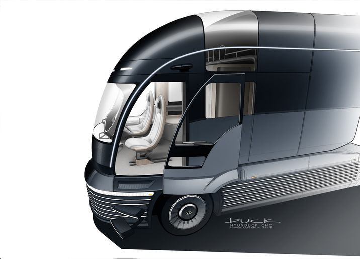 This graphic rendering shows the sliding driver-side door and gives a sense of the Neptune 6's clean, modernistic interior design. - Image: Hyundai