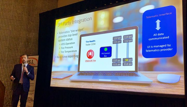 Jonathan Gravell, vice president of business development for PSI, explained how TireView Live works through third-party telematics providers.