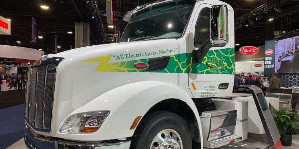 Peterbilt has electric trucks in the hands of customers, like this one, and plans to start...
