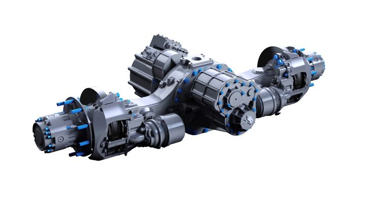 Meritor said its new 17Xe electric powertrain will deliver 420 kilowatts of continuous power and 450 kilowatts of peak power and is packaged it to fit easily into the rails of heav-duty trucks.  - Image: Meritor