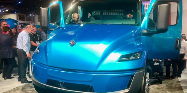 Navistar unveiled this prototype battery-electric version of its medium-duty International MV...