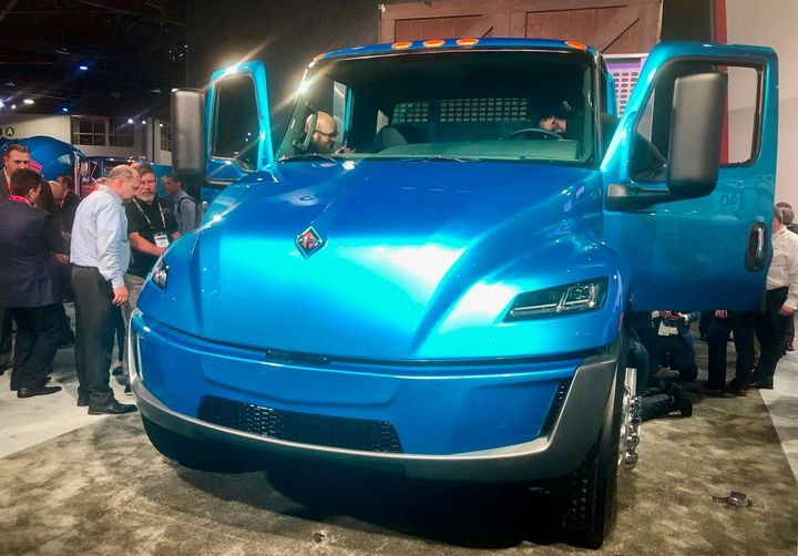 Navistar unveiled this prototype battery-electric version of its medium-duty International MV truck. A regular production eMV model is slated to come on the market in 2021.  - Photos: David Cullen