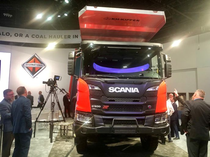 "A Scania XT ""tipper"" truck, like this one on display in Navistar's booth, may one day find work hauling from mines in Canada.