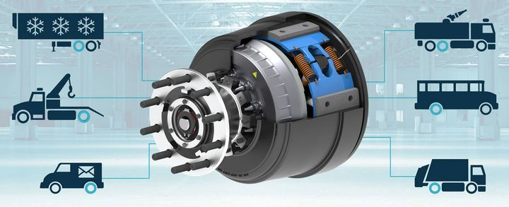 ConMet's PreSet Plus Electric Hub is a flexible design intended as a building block for application in a variety of commercial vehicle applications.  - Photo courtesy ConMet