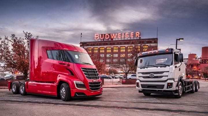 "Using a Nikola hydogen-electric truck and a BYD electric truck, Anheuser-Busch completed a delivery from its brewery to a local wholesale partner that the company is touting as its first ""zero-emission beer delivery"". - Photo: Nikola"