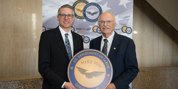 Truck dealer Bob Nuss was awarded the 2019 HIRE Vets Medallion Award, recognizing him for his...