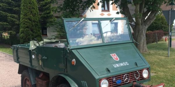 This 1949 Unimog has been touring Germany to collect donations for a worthy cause.