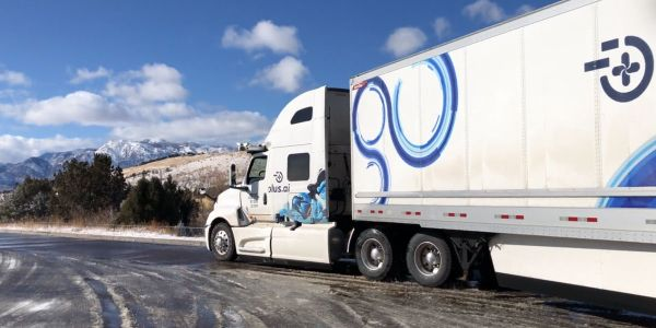 Plus.ai's autonomous truck was was greeted with rainy and snowy roads heading east. Plus.ai...