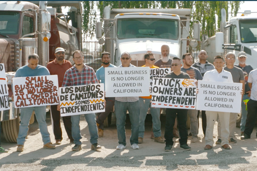 Owner-operators protesting AB5