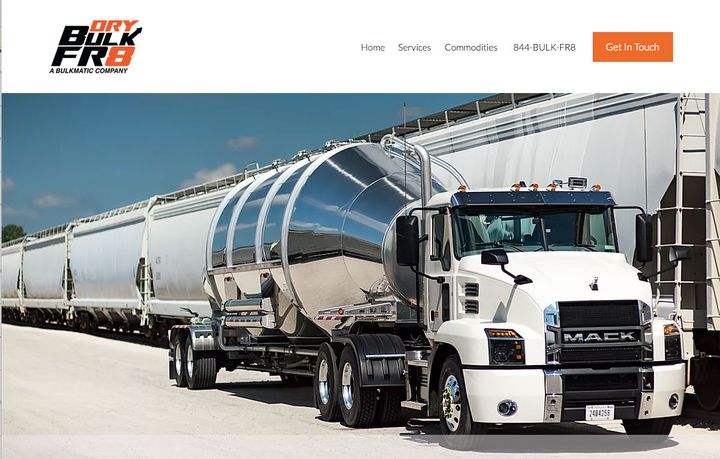 DryBulkFR8 is a new joint venture company offering nationwide dry bulk brokerage and logistics services.  - Screenshot of DryBulkFR8's new website.