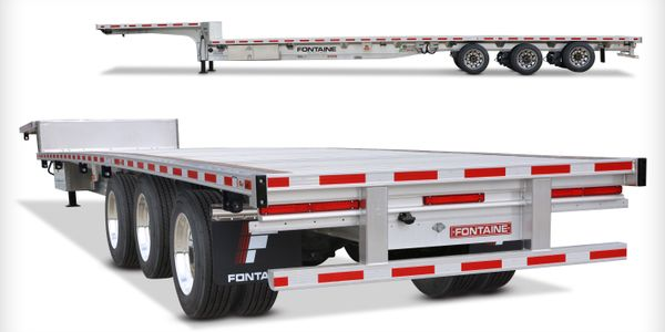 The new Fontaine Revolution dropdeck trailer allows drivers to reconfigure axle settings with...