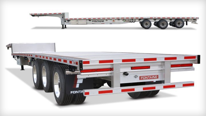 The new FontaineRevolution dropdeck trailer allows drivers to reconfigure axle settings with the push of a button.  - Photo: Fontaine Trailers