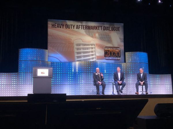 Rick Dauch, CEO of Delphi Technologies, and Jim Kamsickas, chairman, CEO and president of Dana share their thoughts on vehicle electrification at HDAD 2020. - Photo: John G. Smith