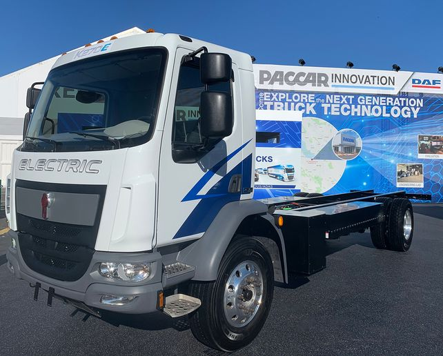 Kenworth displayed a K270E battery electric medium-duty truck – a collaboration ­with Dana – in the PACCAR booth during CES this week. - Photo: Kenworth