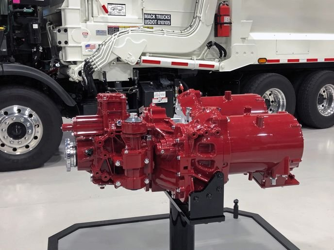Powered by Mack's integrated electric powertrain, the Mack LR Electric features two 130-kW motors that deliver a combined 496 peak horsepower and 4,051 lb.-ft. of torque available from zero rpm.