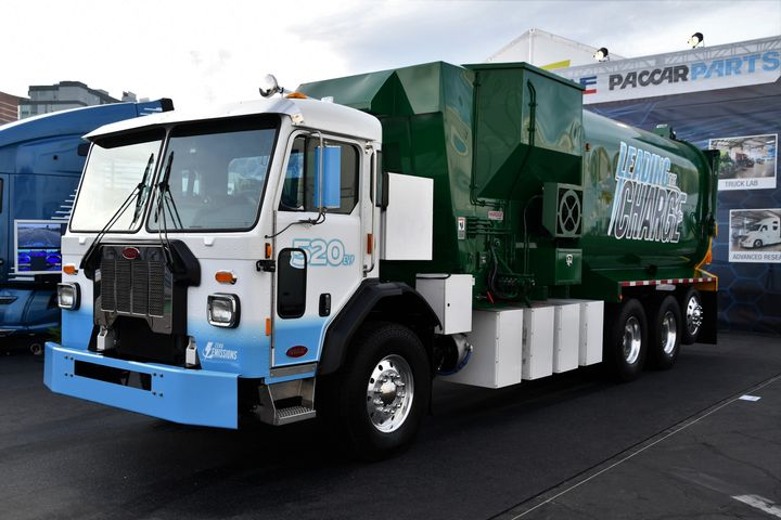 Peterbilt is among the manufacturers that will be offering an all-electric refuse truck. Pictured is the Model 520EV, which has a range of about 100 miles and a four-hour charge time. - Photo: Peterbilt