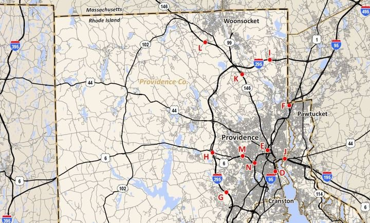 Map of all proposed locations for truck-toll gantries in the Ocean State. - Image: Rhode Island DOT